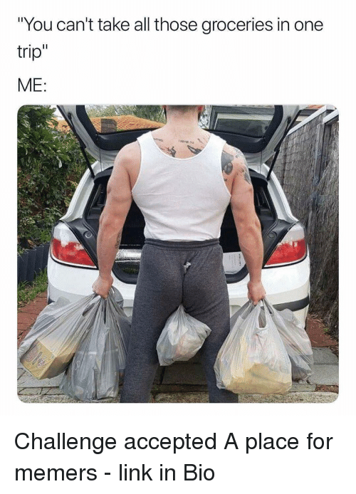 "Memes, Link, and Accepted: ""You can't take all those groceries in one  trip  ME Challenge accepted A place for memers - link in Bio"