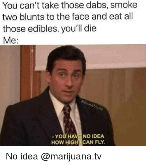 Blunts, The Dab, and How High: You can't take those dabs, smoke  two blunts to the face and eat all  those edibles. you'll die  Me:  auDr  YOU HAVE NO IDEA  HOW HIGH!CAN FLY. No idea @marijuana.tv