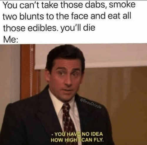 Blunts, The Dab, and How High: You can't take those dabs, smoke  two blunts to the face and eat all  those edibles. you'll die  Me:  auD  . YOU HAVE NO IDEA  HOW HIGH!CAN FLY.