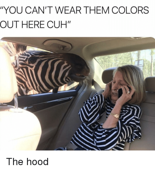 """The Hood, Hood, and Them: """"YOU CAN'T WEAR THEM COLORS  OUT HERE CUH"""" The hood"""