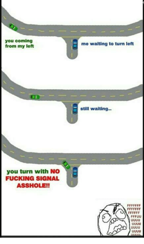 Dank, Fucking, and Fuck: you coming  from my left  you turn with No  FUCKING SIGNAL  ASSHOLE!!  me waiting to turn left  still waiting...