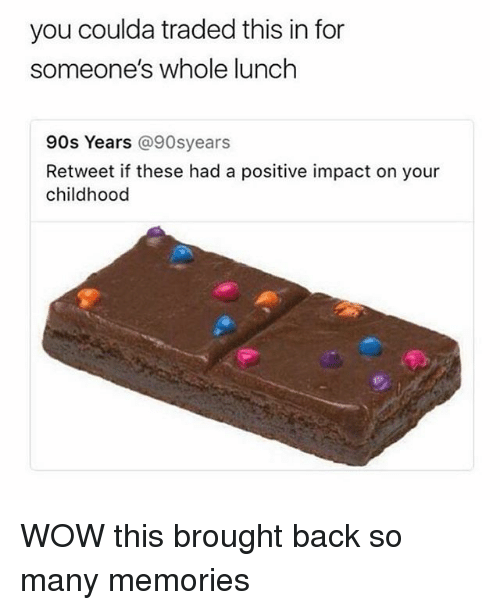 Wow, Relatable, and 90's: you coulda traded this in for  someone's whole lunch  90s Years @90syears  Retweet if these had a positive impact on your  childhood WOW this brought back so many memories
