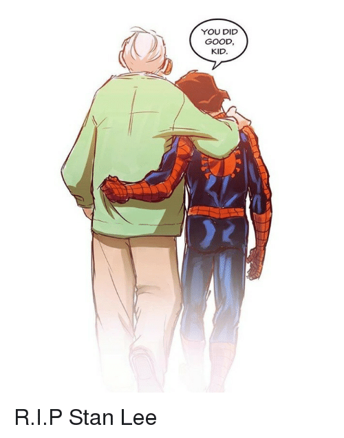 Stan, Stan Lee, and Good: YOU DID  GOOD  KID R.I.P Stan Lee
