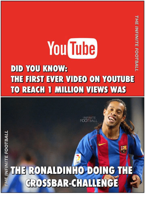 Memes, Ronaldinho, and 🤖: You  DID YOU KNOW:  THE FIRST EVER VIDEO ON YOUTUBE  TO REACH 1 MILLION VIEWS WAS  INFINITE  FOOTBALL  THE RONALDINHO DOING THE  CROSSBAR-CHALLENGE