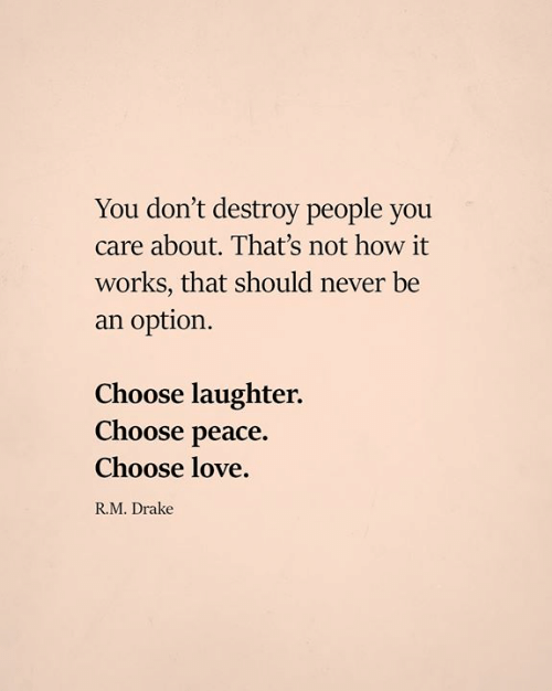 Drake, Love, and Memes: You don't destroy people you  care about. That's not how it  works, that should never be  an option.  Choose laughter.  Choose peace.  Choose love.  R.M. Drake