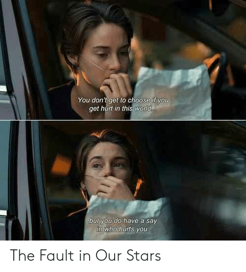 Memes, Fault in Our Stars, and Stars: You don't get to choose if you  get hurt in this world  but you do have a say  in who hurts you The Fault in Our Stars