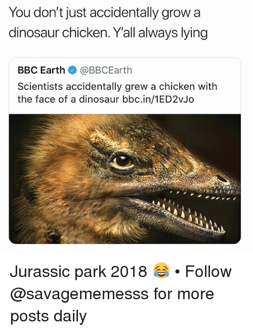 Dinosaur, Jurassic Park, and Memes: You don't just accidentally grow a  dinosaur chicken. Y'all always lying  BBC Earth e. @BBCEarth  Scientists accidentally grew a chicken with  the face of a dinosaur bbc.in/1ED2vJo Jurassic park 2018 😂 • Follow @savagememesss for more posts daily