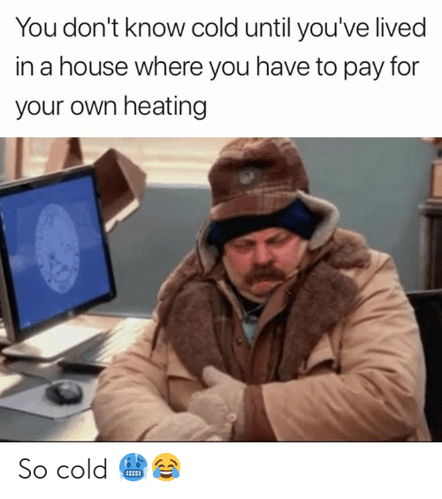 House, Cold, and Own: You don't know cold until you've lived  in a house where you have to pay for  your own heating So cold 🥶😂