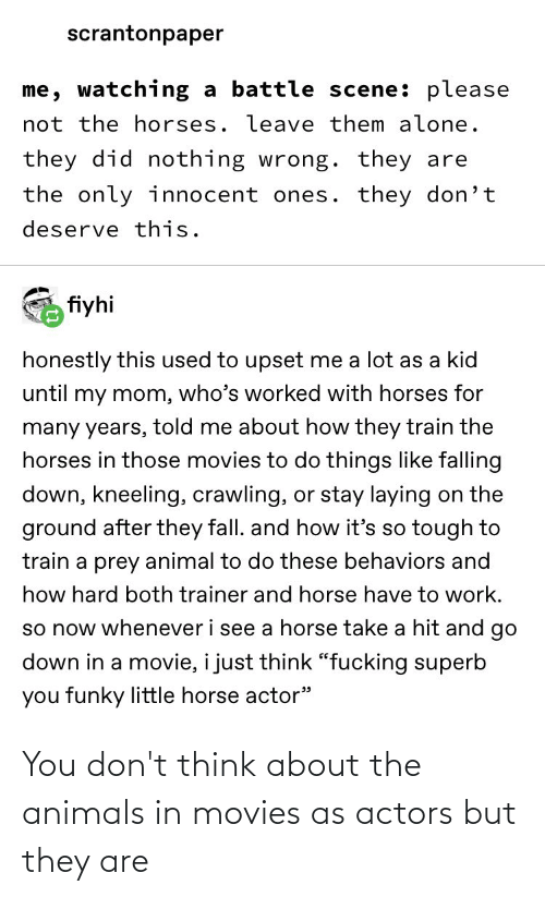 Animals, Movies, and Tumblr: You don't think about the animals in movies as actors but they are