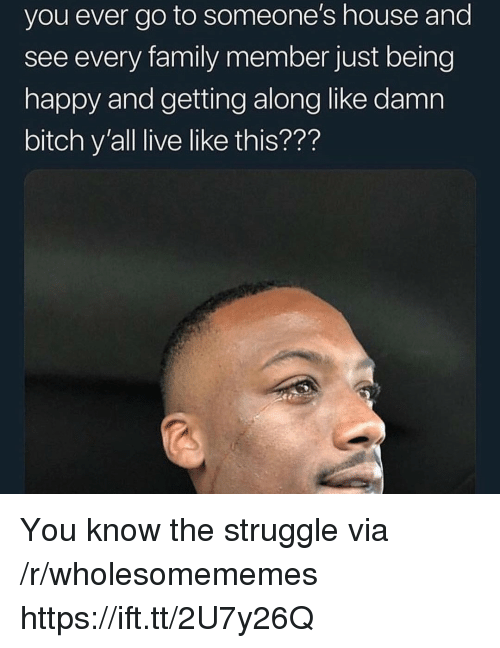 Bitch, Family, and Struggle: you ever go to someone's house and  see every family member just being  happy and getting along like damn  bitch y'all live like this??? You know the struggle via /r/wholesomememes https://ift.tt/2U7y26Q