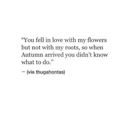 "Love, Flowers, and Roots: ""You fell in love with my flowers  but not with my roots, so when  Autumn arrived you didn't know  what to do.""  - (via thugahontas)  35"