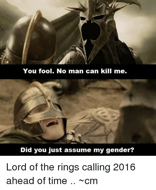Memes, The Ring, and Lord of the Rings: You fool. No man can kill me.  Did you just assume my gender? Lord of the rings calling 2016 ahead of time ..  ~cm