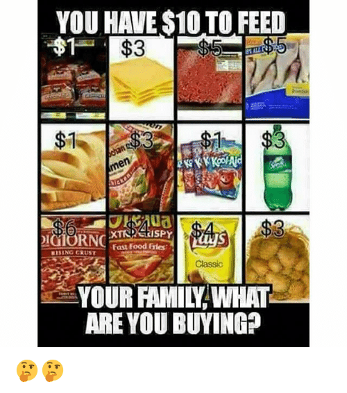Family, Fast Food, and Food: YOU HAVE $10 TO FEED  $7  %3  RNC  Fast Food Eries  RISING CRUST  Classic  YOUR FAMILY WHAT  ARE YOU BUYING? 🤔🤔