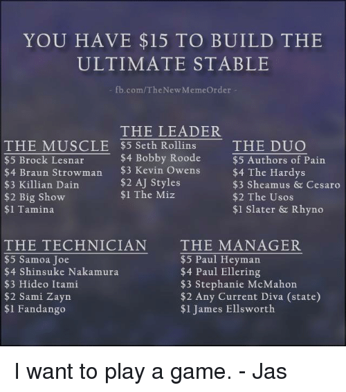 Memes, Big Show, and Brock: YOU HAVE $15 TO BUILD THE  ULTIMATE STABLE  fb.com/TheNew MemeOrder  THE LEADER  $4 Bobby Roode  $2 AJ Styles  THE MMUSCLE $5 Seth Rollins THE DUO  $5 Brock Lesnar  $5 Authors of Pain  $4 The Hardys  $3 Sheamus & Cesaro  $2 The Usos  $1 Slater & Rhyno  wens  $3 Killian Dain  $2 Big Show  $1 Tamina  $1 The Miz  THE TECHNICIÁN  $5 Samoa Joe  $4 Shinsuke Nakamura  $3 Hideo Itami  $2 Sami Zayn  $1 Fandango  THE MANAGER  $5 Paul Heyman  $4 Paul Ellering  $3 Stephanie McMahon  $2 Any Current Diva (state)  $1 James Ellsworth I want to play a game. - Jas