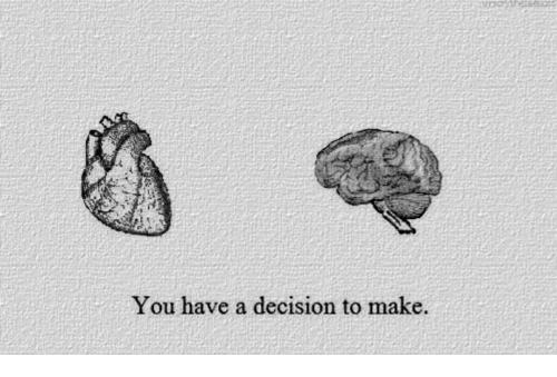 Make, You, and Decision: You have a decision to make.