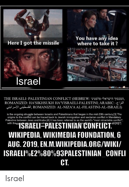 "Struggle, Wikipedia, and Immigration: You have any idea  where to take it?  Here I got the missile  Israel  THE ISRAELI-PALESTINIAN CONFLICT (HEBREW: o noon,  ROMANIZED: HA'SIKHSUKH HA'YISRAELI-FALESTINI; ARABIC: -  iI, ROMANIZED: AL-NIZA'A AL-FILASTINI-AL-ISRAILI)  is the ongoing struggle between Israelis and Palestinians that began in the mid-20th century [3] The  origins to the conflict can be traced back to Jewish immigration and sectarian conflict in Mandatory  Palestine between Jews and Arabs.[4] It has been referred to as the world's ""most intractable conflict"",  with the  ""ISRAELT PALESTINIAN CONFLICT.""  6[7  pati  WIKIPEDIA, WIKIMEDIA FOUNDATION, 6  AUG. 2019, EN.M.WIKIPEDIA.ORG/WIKI/  ISRAELI%E2%80%93PALESTINIAN_CONFLI  CT Israel"