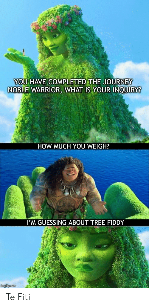 Journey, Reddit, and Tree: YOU HAVE COMPLETED THE JOURNEY  NOBLE WARRIOR, WHAT IS YOUR INQUIRY?  HOW MUCH YOU WEIGH?  l'M GUESSING ABOUT TREE FIDDY Te Fiti