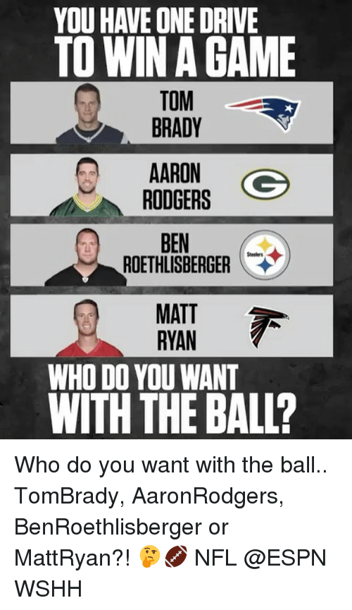 Ben Roethlisberger, Espn, and Memes: YOU HAVE ONE DRIVE  TO WIN GAME  TOM  BRADY  AARON  Go  RODGERS  BEN  ROETHLISBERGER  MATT  RYAN  WHO DO YOU WANT  WITH THE BALL? Who do you want with the ball.. TomBrady, AaronRodgers, BenRoethlisberger or MattRyan?! 🤔🏈 NFL @ESPN WSHH