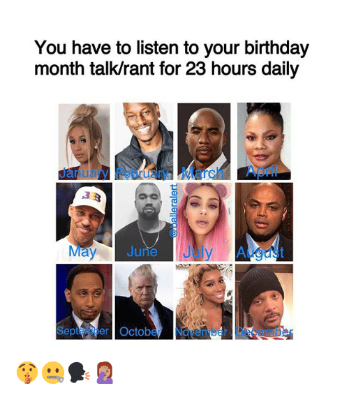 Birthday, Memes, and April: You have to listen to your birthday  month talk/rant for 23 hours daily  January Febuary March April  May June July August  Saptemior October  Novmber Dece  nmber 🤫🤐🗣🤦🏽♀️