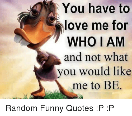 You Have To Love Me For Who I Am And Not What You Would Like Me To
