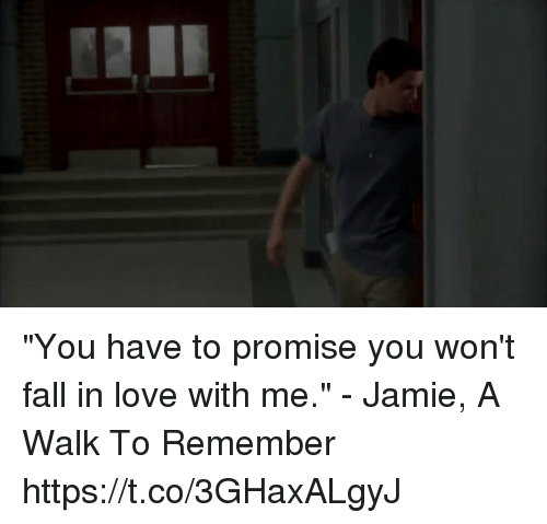 "Fall, Love, and Memes: ""You have to promise you won't fall in love with me."" - Jamie, A Walk To Remember https://t.co/3GHaxALgyJ"