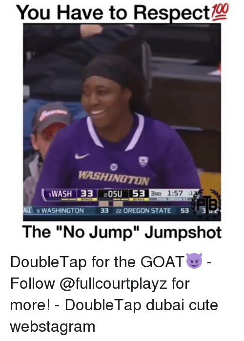 "Cute, Memes, and Respect: You Have to Respect  WASHINGTON  WASH 33  OSU 53  3RD 1:57  12  ALL 9 WASHINGTON 33  22 OREGON STATE  53  3  The ""No Jump"" Jumpshot DoubleTap for the GOAT😈 - Follow @fullcourtplayz for more! - DoubleTap dubai cute webstagram"