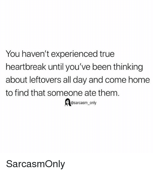 Funny, Memes, and True: You haven't experienced true  heartbreak until you've been thinking  about leftovers all day and come home  to find that someone ate them  ABsarcasm only SarcasmOnly