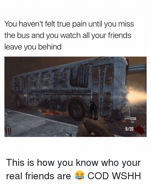 Memes, True, and Wshh: You haven't felt true pain until you miss  the bus and you watch all your friends  leave you behind  1200  8/26 This is how you know who your real friends are 😂 COD WSHH