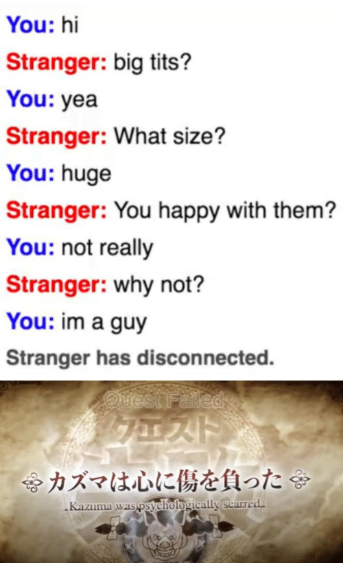 Happy, Quest, and Big: You: hi  Stranger: big tits?  You: yea  Stranger: What size?  You: huge  Stranger: You happy with them?  You: not really  Stranger: why not?  You: im a guy  Stranger has disconnected.  Quest Falled  令カズマは心に傷を負った  Kazuma was psychologically scarred.