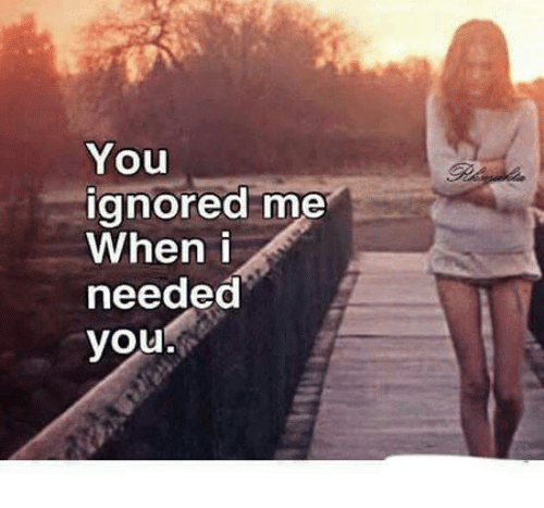 Memes, 🤖, and Ignoring: You  ignored me  When I  needed  you