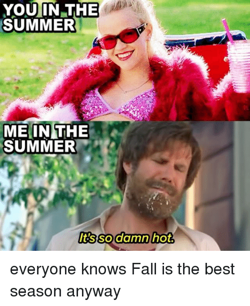 Fall, Summer, and Best: YOU IN THE  SUMMER  ME IN THE  SUMMER  It's so damn hot. everyone knows Fall is the best season anyway