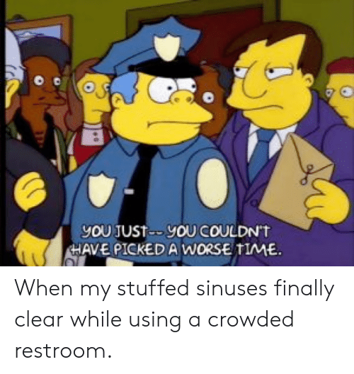 Time, Advice Animals, and Clear: You JuST-YOU COULDN'T  HAVE PICKEDA WORSE TIME When my stuffed sinuses finally clear while using a crowded restroom.