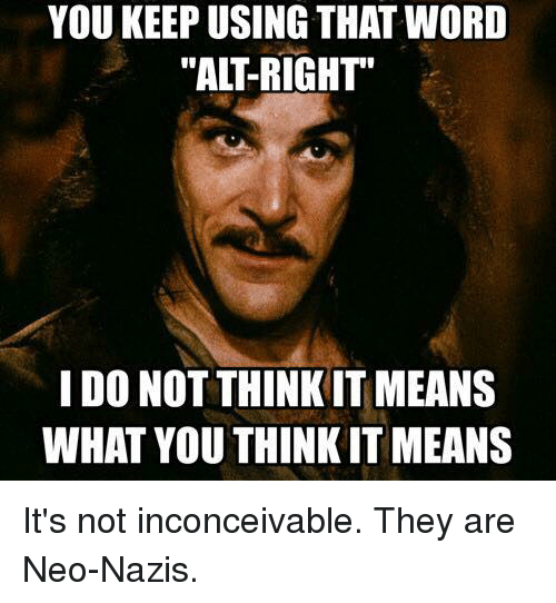 Memes, 🤖, and Nazi: YOU KEEPUSING THAT WORD  I DO NOT THINKIT MEANS  WHAT YOU THINK IT MEANS It's not inconceivable. They are Neo-Nazis.