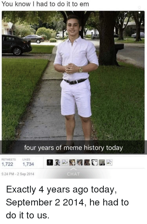 Meme, Reddit, and Chat: You know I had to do it to em  four years of meme history today  RETWEETS  LIKES  1,722 1,734  5:24 PM -2 Sep 2014  CHAT