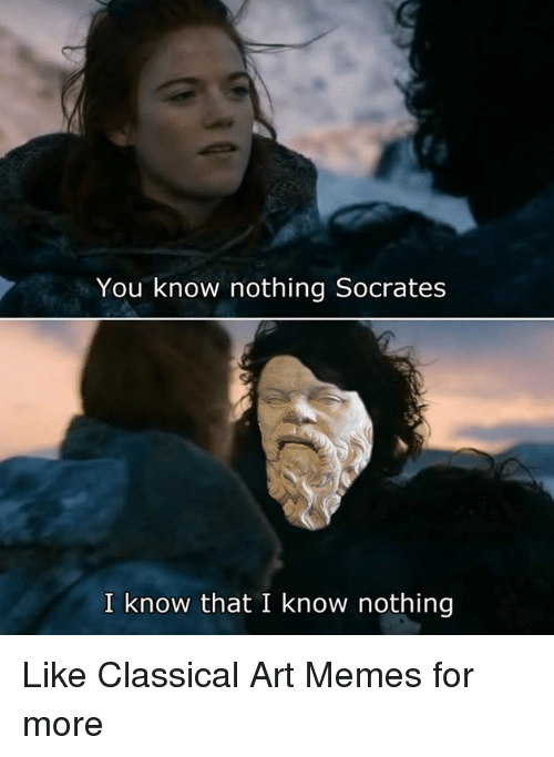 Dank, Meme, and Memes: You know nothing Socrates  I know that I know nothing Like Classical Art Memes for more