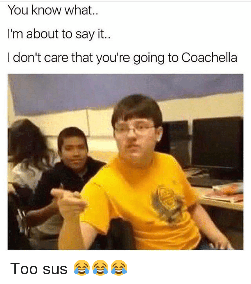 Coachella, Memes, and Say It: You know what  I'm about to say it  I don't care that you're going to Coachella Too sus 😂😂😂