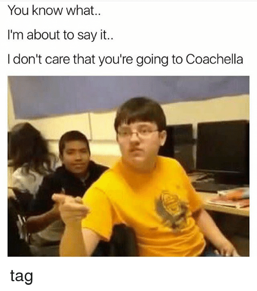 Coachella, Memes, and Say It: You know what.  I'm about to say it..  I don't care that you're going to Coachella tag
