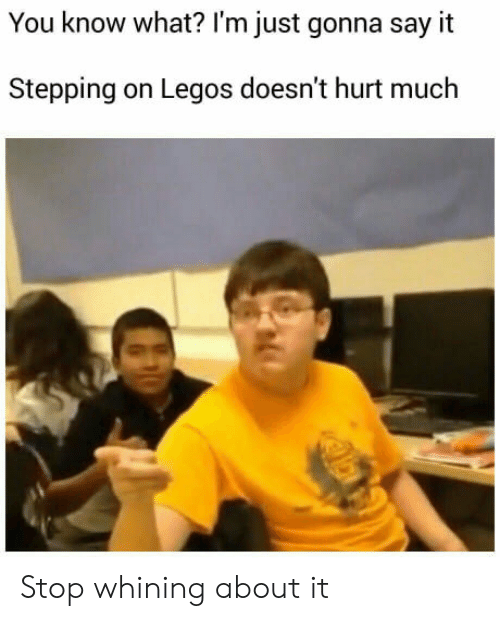 Say It, Legos, and You: You know what? l'm just gonna say it  Stepping on Legos doesn't hurt much Stop whining about it