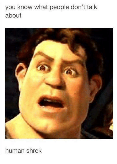 You Know What People Don T Talk About Human Shrek Dank