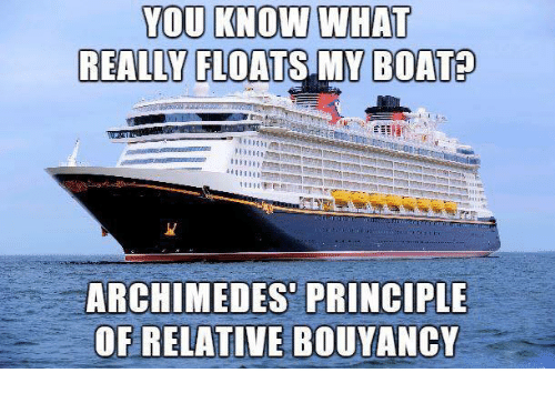 YOU KNOW WHAT REALLY FLOATS MY BOAT ARCHIMEDES PRINCIPLE OF