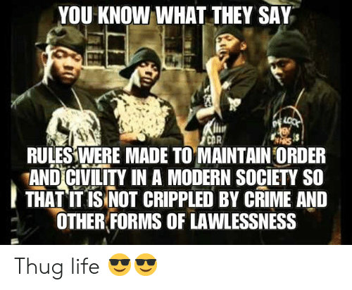 Crime, Life, and Thug: YOU KNOW WHAT THEY SAY  LOOK  CDR  RULES WERE MADE TO MAINTAIN ORDER  AND CIVILITY IN A MODERN SOCIETY SO  THAT IT IS NOT CRIPPLED BY CRIME AND  OTHER FORMS OF LAWLESSNESS Thug life 😎😎