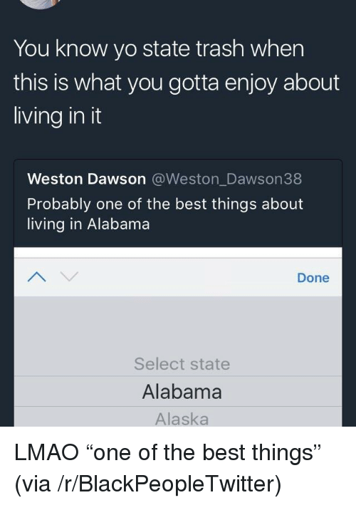 Blackpeopletwitter, Lmao, and Trash: You know yo state trash when  this is what you gotta enjoy about  living in it  Weston Dawson @Weston_Dawson38  Probably one of the best things about  living in Alabama  Done  Select state  Alabama  Alaska <p>LMAO &ldquo;one of the best things&rdquo; (via /r/BlackPeopleTwitter)</p>