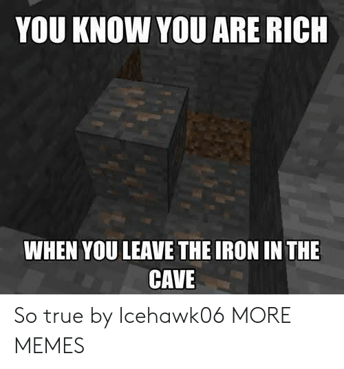 Dank, Memes, and Target: YOU KNOW YOU ARE RICH  WHEN YOU LEAVE THE IRON IN THE  CAVE So true by Icehawk06 MORE MEMES