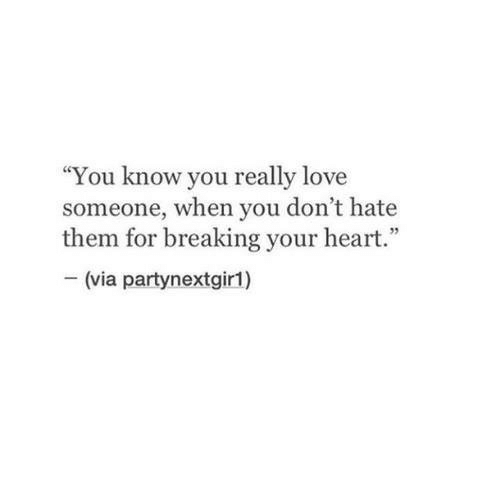 """Love, Heart, and Via: """"You know you really love  someone, when you don't hate  them for breaking your heart.""""  -(via partynextgir1)"""