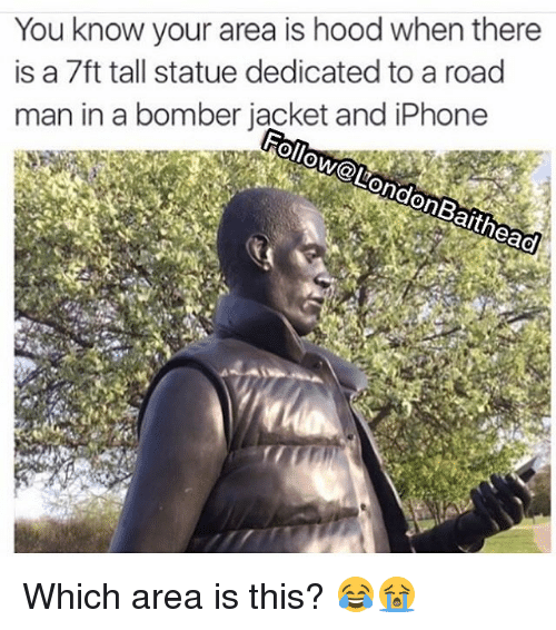 Head, Iphone, and Memes: You know your area is hood when there  is a 7ft tall statue dedicated to a road  man in a bomber jacket and iPhone  Follow@London Bait head Which area is this? 😂😭