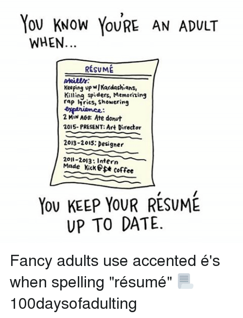 can you spell resume without accents