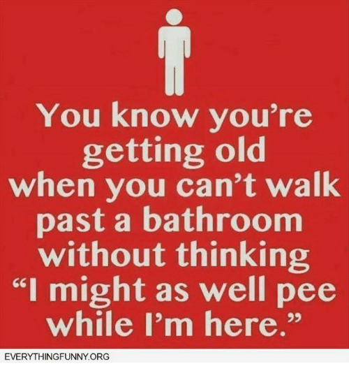 """Dank, Old, and 🤖: You know you're  getting old  when you can't walk  past a bathroom  without thinking  """"I might as well pee  while I'm here.""""  EVERYTHINGFUNNY ORG"""