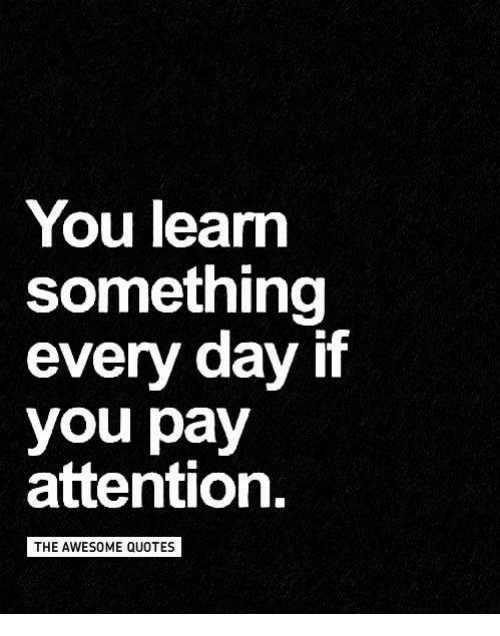 You Learn Something Every Day If You Pay Attention The Awesome