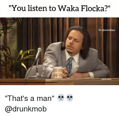 "Memes, Waka Flocka, and Flocka: ""You listen to Waka Flocka?""  IG  IG: @nochillbro ""That's a man"" 💀💀 @drunkmob"