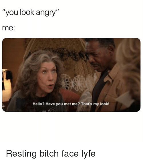 "Bitch, Hello, and Girl Memes: ""you look angry""  me:  Hello? Have you met me? That's my look! Resting bitch face lyfe"